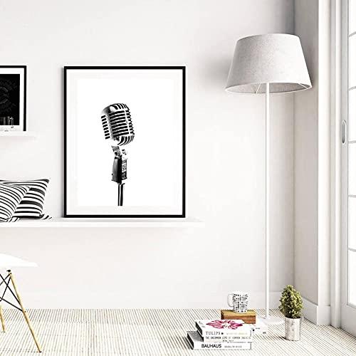 Cuadros salon Pintura en lienzo póster de micrófono blanco y negro arte de pared musical impresión imagen Vintage decoración del hogar del dormitorio 40x60cm sin marco