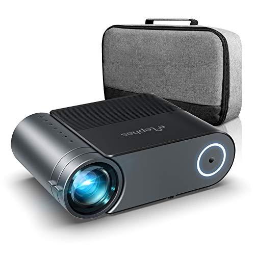 Mini Beamer ELEPHAS, Nativ 720P HD 4500 Lumen Projektor 200' LED Projektor, für Film Unterhaltung Spiele, unterstützt HDMI VGA AV USB Micro SD, Schwarz. MEHRWEG