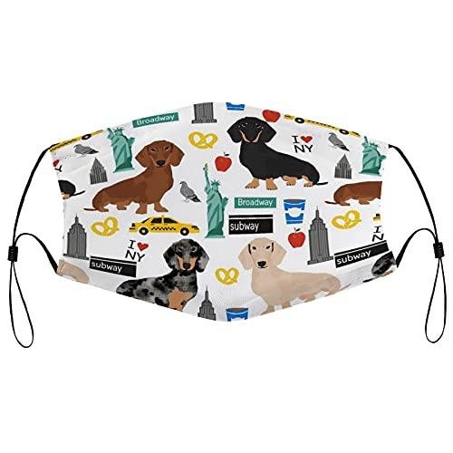 Tela Face Ma_sks, reutilizable transpirable cara co-ver con 2 filtros pasamontañas ajustable protector bucal para hombres y mujeres, Dachshund New York City Dog Raza blanca
