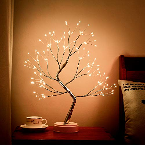 FLDFRArtificial Bonsai Tree Light - 108 LED Fairy Spirit Light TreeOperated by Battery or USB, Indoor Decoration, Holiday Party, Children Gift and Daily (Warm White Light)