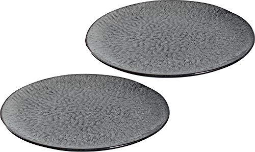 LEONARDO Teller Matera 2-er Set, 27 cm, 2 Keramik Teller, spülmaschinengeeignet, mit Glasur anthrazit, 027001