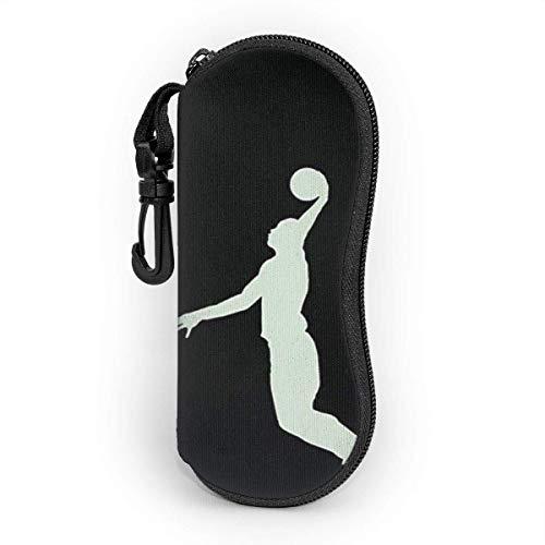 SDFGJ Brillenetui weich mit Karabinerhaken, tragbare Sonnenbrillenetui Basketball Er Silhouette