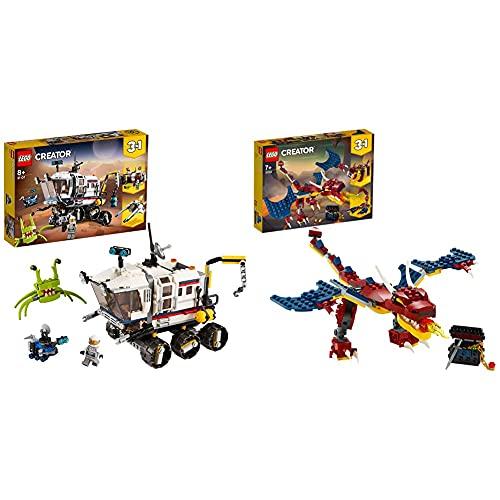 Lego 31107Creator3En1RóverExploradorEspacialOBaseEspacialOAstronave + 31102CreatorDragónLlameanteSetDeConstrucción3En1DientesDeSableOEscorpiónparaNiñosYNiñas + 7Años