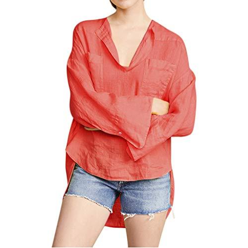 SHINEHUA linnen blouse dames linnen blouse elegant lange mouwen vrijetijdsbovendeel casual linnen shirt basic lange mouwen herfst longshirt tops bovenkant tuniek hemd blousenshirts Large oranje