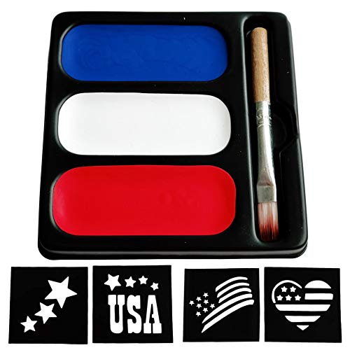 USA Colors Face Paint Palette - Blue Red & White Makeup (3 Paints, Brush & Stencils) Painting Kit...