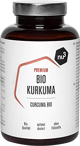 nu3 Premium Bio Kurkuma (Curcuma) 200 Stück - mit Piperin hochdosiert in veganen Kapseln - enthält natürliches Curcumin & Piperin aus schwarzem Pfeffer-Extrakt - Pulver Laborgeprüft aus Deutschland
