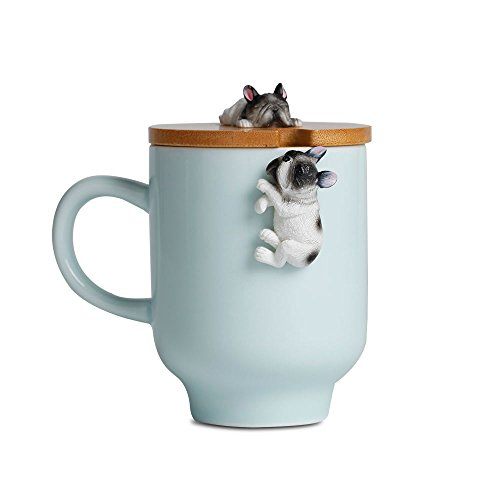 Frenchie Bulldog Mug with Funny Bamboo Lid,Unique YingQing Color Ceramic Frenchie Gifts Figurine Ceramic Tea Cup Mug by Pet Figurine Decoration -(12oz,350ML) (Misty Blue, Sleep French Bulldog)