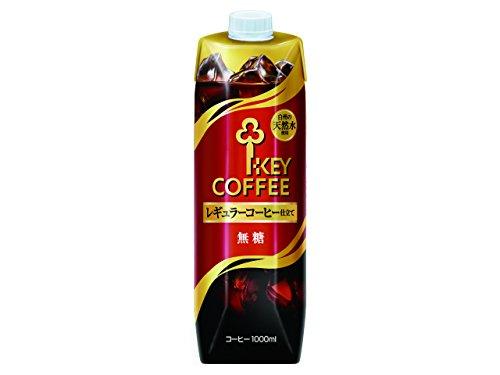 キーコーヒー リキッドコーヒー 天然水 無糖 テトラプリズマ 1L×6本