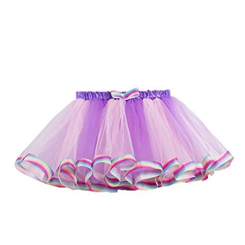 Daygeve Kinder Mädchen Tutu Party Dance Ballett Prinzessin Rock Kinder Kostüm Splice Regenbogen Minirock für Party 2-11 Jahre