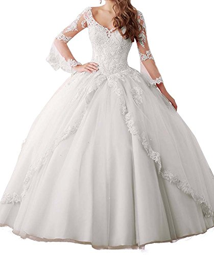 Annadress Women's Long Sleeve Lace Quinceanera Dresses Train V-Neck Ball Gown