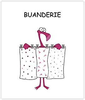 Plaque de porte de buanderie humoristique flamant rose, signalétique humoristique buanderie