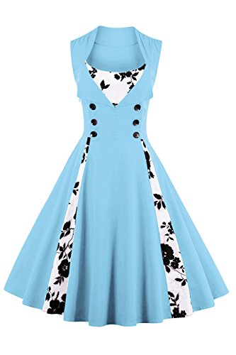 VERNASSA 50s Vestidos Vintage,Mujeres 1950s Vintage A-Line Rockabilly Clásico Verano Dress for Evening Party Cocktail, Multicolor, S-Plus Size 4XL