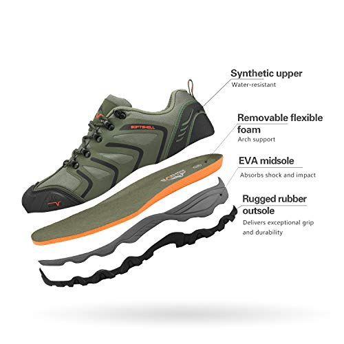 NORTIV 8 Men's Low Top Waterproof Hiking Shoes Outdoor Lightweight Backpacking Trekking Trails 160448-low Army Green Black Orange Size 11 M US
