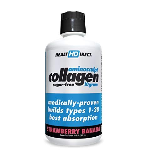 AminoSculpt Collagen Sugar-Free 10 Gram, Strawberry Banana, 30 Fl Oz by Health Direct