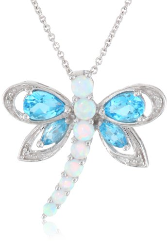 Jewelili Sterling Silver Multi-Gems and Genuine White Diamonds Dragonfly Pendant Necklace, 18 Inches