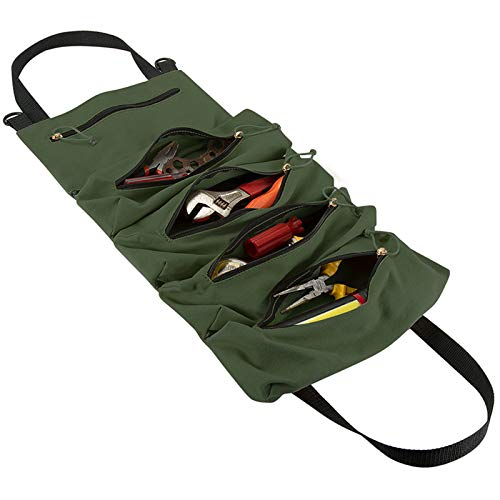 HRX Package Canvas Rollup Tool Pouches Compact Roll Tool Bags with 5 Zipper Pockets Tool Organizer Carrier Bag for Car Motorcycle