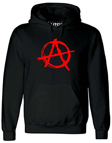 Preisvergleich Produktbild Reality Glitch Herren Anarchy Symbol Kapuzenpullover (Schwarz,  Groß)