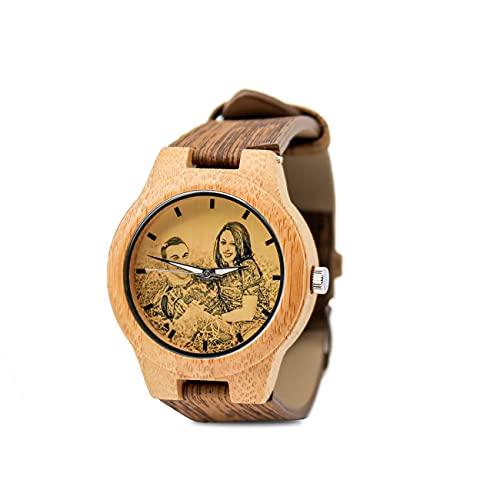 Reloj Personalizado Reloj De Pareja Reloj De Fotos Reloj Grabado Reloj De Hombre Reloj Marrón Reloj De Bambú Regalo Personalizado del Día del Padre