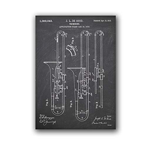 Musikinstrument Posaune 1913 Plakat Musik Blaupause Theater Wandkunst Leinwand Malerei Dekoration A4 60x84cm