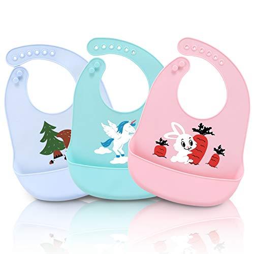 HyAdierTech Baberos del bebé, Silicona Impermeable Bebé Baberos Fácilmente limpia Limpie Silicona Alimentación baberos - Bolsillo de Saliva Súper Suave y Súper Ligero