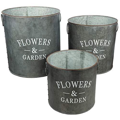 HRB 3er Set Blumentopf Gross Vintage rund, hochwertige Metall Blumenständer für Innen und Außen, die Pflanzkübel haben EIN Volumen von 8,2-18,1 L(Serie 4)