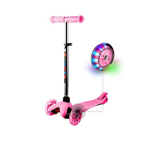 WeSkate Roller für Kinder Kleinkinder Scooter 3 Räder Verstellbare Mini Kinderscooter Kinderroller Dreiräder mit Blinkenden LED-Räder für Jüngere Mädchen ab 2 Jahre (Rosa)
