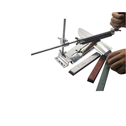 KKmoon afilador de cuchillos de ángulo fijo a nivel. Kit de acero inoxidable profesional con 4 piedras de afilar