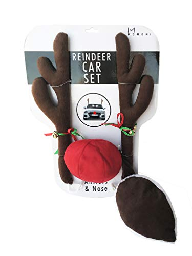 MOMONI Premium Reindeer Car Kit Antlers, Nose, Tail- Rudolph Set Reindeer Christmas Decoration Car Costume Auto Accessories