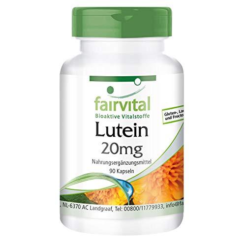 Lutein 20mg + Zeaxanthin - Hochdosiert & mikroverkapselt - VEGAN - 90 Kapseln - ohne Magnesiumstearat