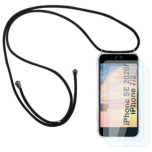 Funda de collar de teléfono para iPhone SE 2020/7/8 con cordón de longitud ajustable, ultrafino transparente protector de silicona TPU transparente a prueba de golpes suave cubierta - negro