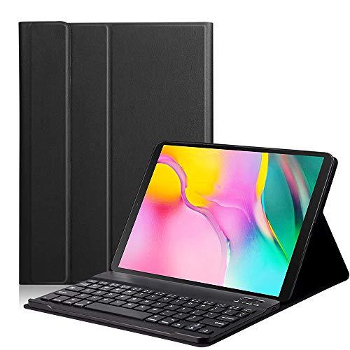 RONSHIN Funda protectora para Samsung Galaxy Tab A 10.1T510/T515 con teclado Bluetooth retroiluminado, color negro