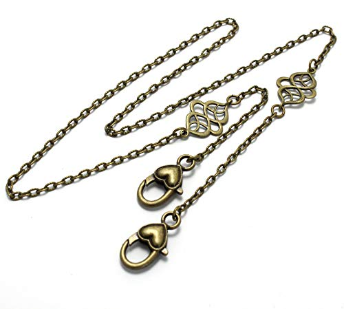 Brenda Elaine Jewelry Womens Mask Lanyard Necklace Holder with Brass Celtic Knots, Womens Face Mask Accessories, Brass Mask Lanyard, Mask Chain, Large Lobster Clasp, Fits Most Masks, Textured Chain