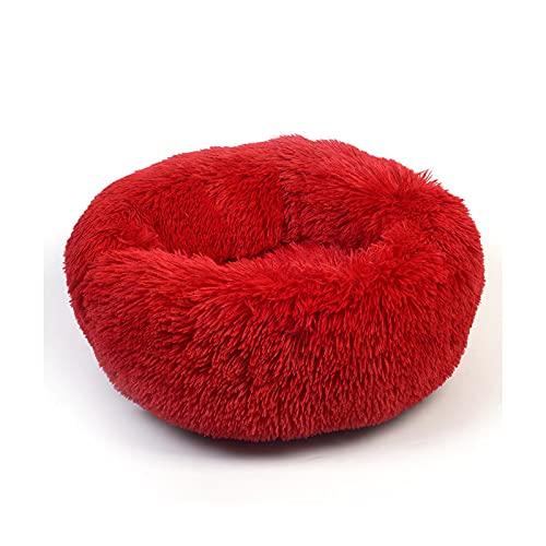 Pet bed Langes Plüsch-Hundebett, rund, weich, Katzenbett, Schlaf-Liege, Welpenkissen, selbstwärmend, für Hunde/Katzen, rot, 40 cm