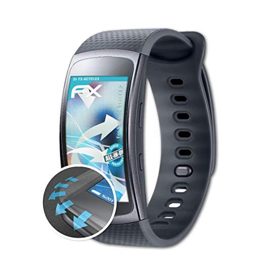 atFoliX Schutzfolie kompatibel mit Samsung Gear Fit 2 Folie, ultraklare & Flexible FX Bildschirmschutzfolie (3X)