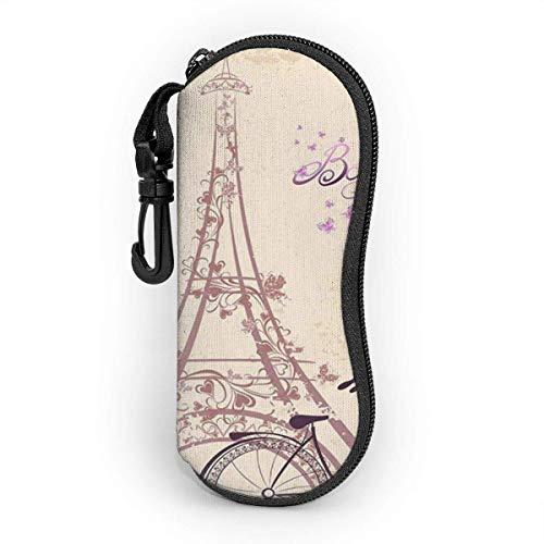 Funda de Gafas Hermosas torres y bicicletas de París Ultra Ligero Neopreno Suaves viaje Estuche para Gafas de caso Bolsa con Clip de Cinturón