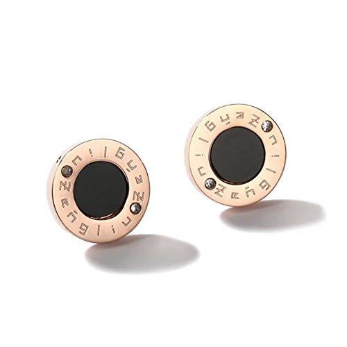 Boucles d'oreille en acier titane Rose 18k plaqué or, boucles d'oreilles noires de cercle de femmes