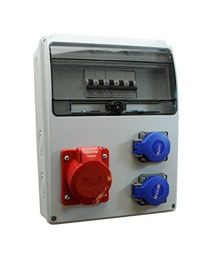 Baustromverteiler/Wandverteiler 2 x 230V/16A Schuko & 1 x CEE 16A/400V verdrahtet + LEGRAND LS