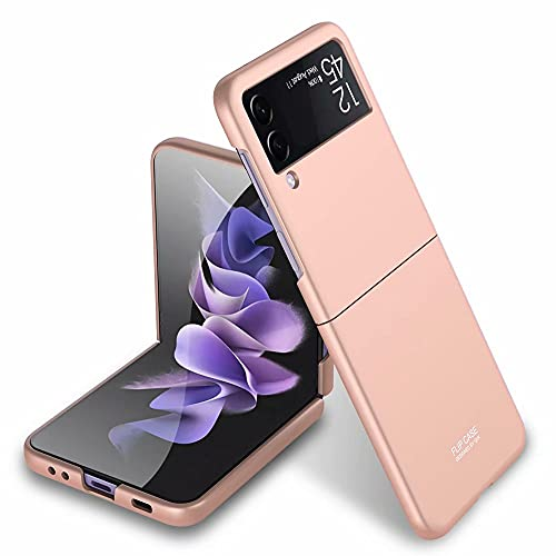 FTRONGRT Cover per Samsung Galaxy Z Flip 3, Ultra Sottile, Antiscivolo AntiGraffio Hard PC Custodia per Samsung Galaxy Z Flip 3-Oro rosa