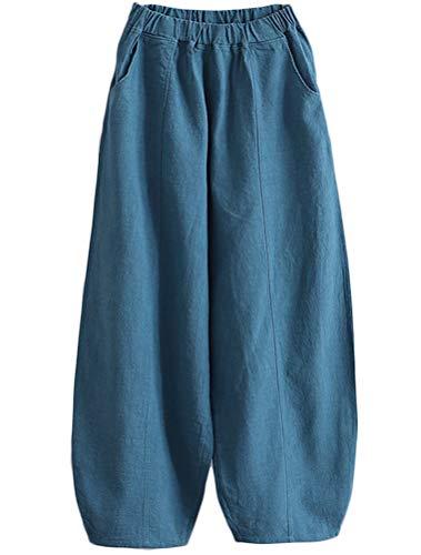 Mallimoda Donna Pantaloni Ampio Palazzo Pants Vita Alta Elastici Harem Pantalone Larghi Lago Blu