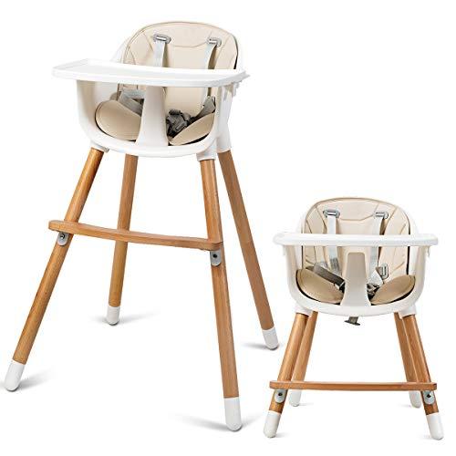 COSTWAY 2-in-1 Babyhochstuhl, Kinderhochstuhl aus Holz, Treppenhochstuhl, Kombihochstuhl Baby, Holzhochstuhl Kinder mit einstellbare Ablage und Fußstütze, für Kleinkinder und Säuglinge