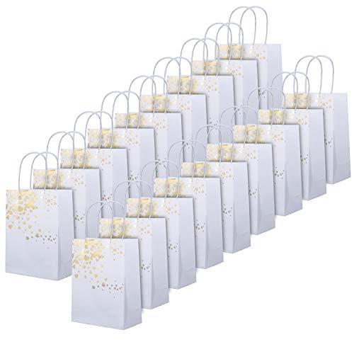 20 Piezas Bolsa de Papel con Asa - Bolsa Papel Kraft Blanco