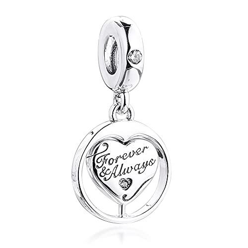 COOLTASTE 2021 regalo del día de San Valentín Spinning Forever & Always Soulmate colgante de plata 925 DIY se adapta a pulseras originales Pandora encanto joyería de moda