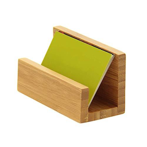 Cuasting - Soporte para tarjetas de visita de bambú para escritorio resistente de tarjetas de visita para oficina, apto para hombres y mujeres