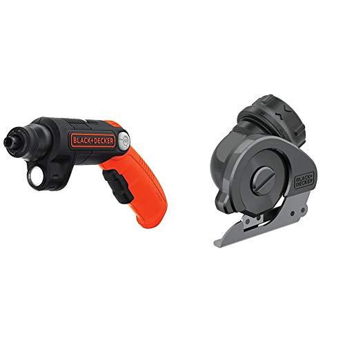 BLACK+DECKER 4V MAX Cordless Screwdriver with LED Light & Multi Cutter Attachment (BDCSFL20C & BDCSMCA)