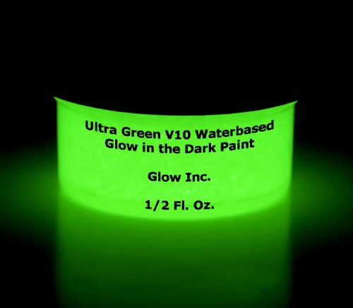 Ultra-green water based glow in the dark paint by Glow Inc 1/2 fl. oz