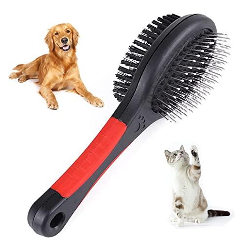 Hundebürste Kurzhaar Katzenbürste Furminator für Hunde 2 in 1 Fellpflege Doppelbürste FüR Verfilzungen Knoten & Unterfell für Lange Mittlere Dicke Kurze Haare Pet