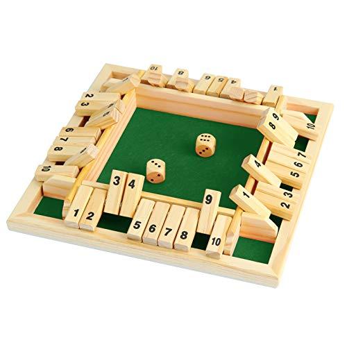 NXACETN Holz Brettspiel 2 Würfel Shut The Box Würfelspiel Classic 4-seitiges Holzbrett Weihnachten Tischspielzeug mit Würfeln für Kinder Erwachsene Lernzahlen Strategie Risiko 2-4 Spieler Green