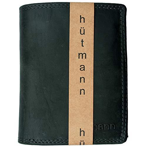 RFID Hütmann Geldbörse Geldbeutel Leder Hochformat schwarz