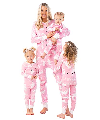 Lazy One Flapjacks, Matching Pajamas for The Dog, Baby & Kids, Teens, and Adults (Classic Moose Pink,Large)