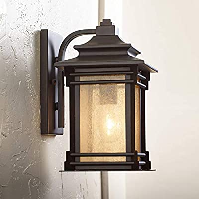 """Hickory Point 12"""" High Bronze Outdoor Light Mission Craftsman Style Frosted Glass Panel for Patio Porch - Franklin Iron Works"""